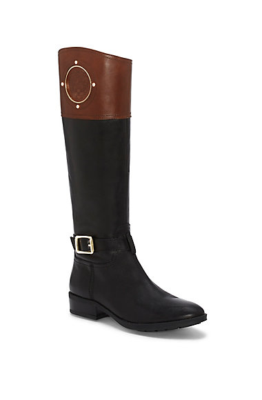 VINCE CAMUTO PHILLIE- CREST EMBOSSED RIDING BOOT