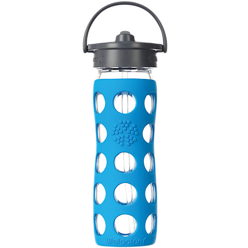 Straw Cap Glass Bottle With Silicone Sleeve