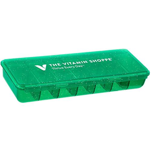 Seven Pack Pill Case Green Glitter