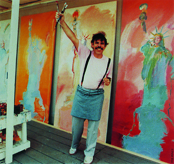 Peter Max and Wrangler come together for an anniversary celebration on multiple levels! This photo of Peter Max is from the Wrangler website.