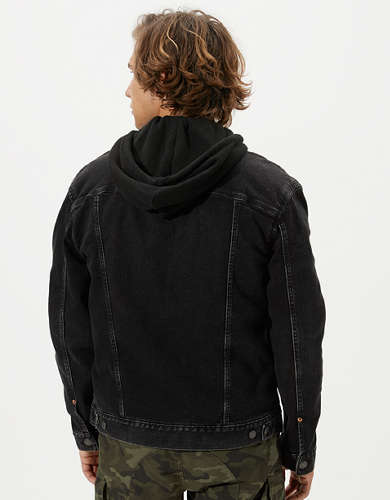 AE Black Hooded Denim Jacket