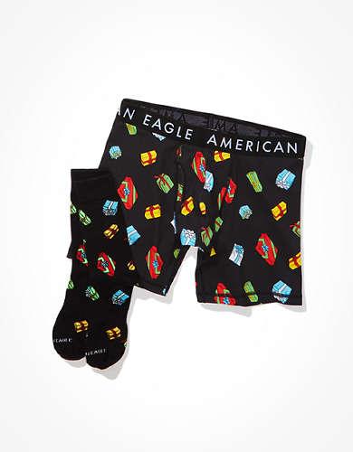 "AEO Sock + 6"" Classic Boxer Brief Gift Set"