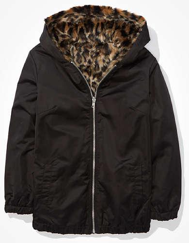 AE Reversible Faux Fur Zip-Up Jacket