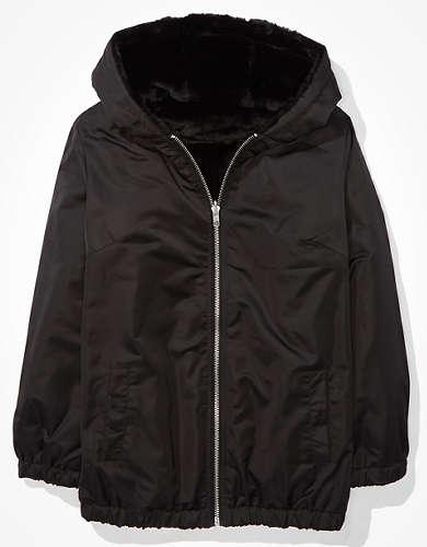 AE Reversible Faux Fur Zip Up Jacket