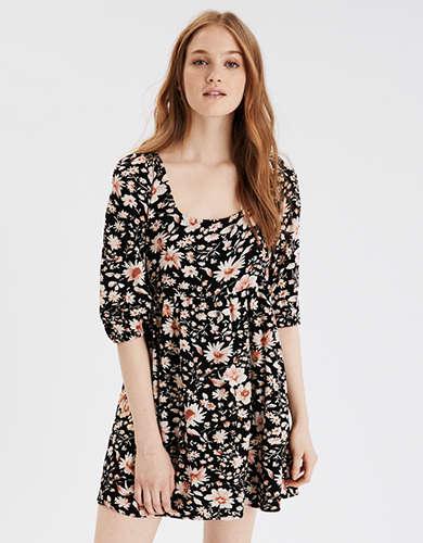 AE Printed Puff Sleeve Babydoll Dress