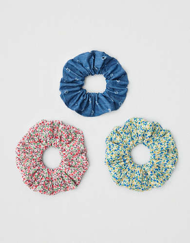 AEO Chambray + Ditsy Scrunchies 3-pack