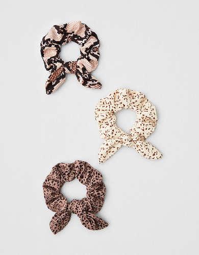 AEO Mini Animal Print Bow Scrunchies 3-Pack