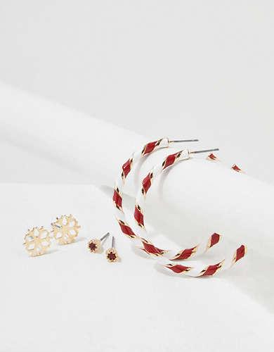 AEO Candy Cane Hoop + Stud Earrings 3-Pack