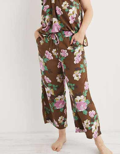 Aerie Satin Cropped Pant