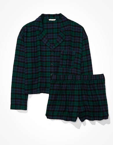 AEO Plaid Flannel Short PJ Set