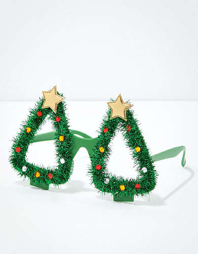 AEO Tinsel Christmas Tree Glasses
