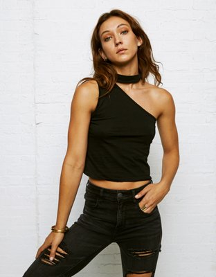 Don't Ask Why One Shoulder Choker Tank