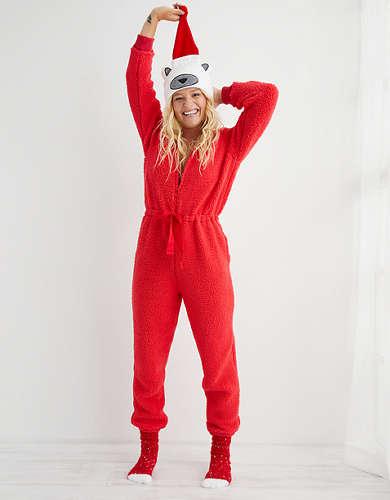 Aerie Sherpa Pajama Jumpsuit