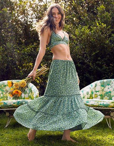 Aerie Garden Party Midi Skirt