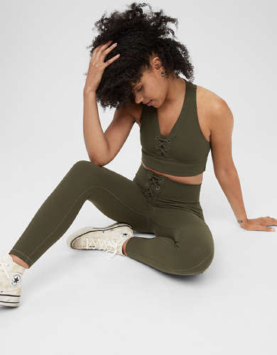 OFFLINE Ribbed High Waisted Lace Up Legging