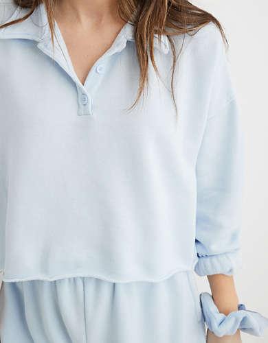 Aerie Fleece-Of-Mind Cropped Polo Sweatshirt