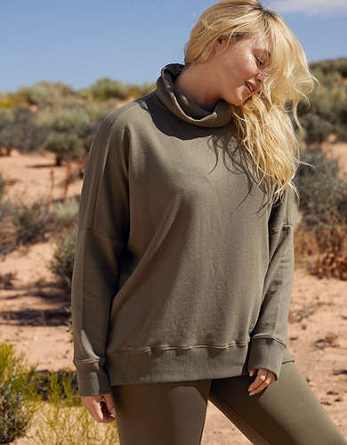 Aerie Sunday Soft Oversized Turtleneck Sweatshirt