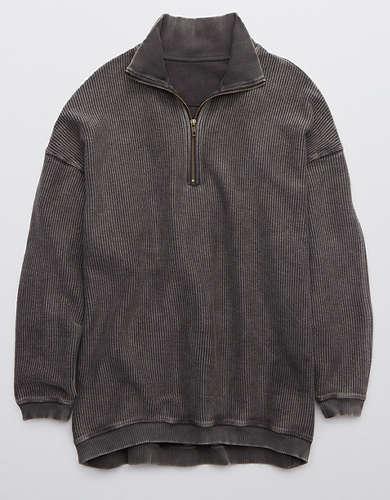 Aerie Good Vibes Corded Oversized Quarter Zip Sweatshirt