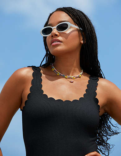 Aerie Waffle Scalloped One Piece Swimsuit