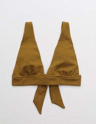 Aerie Shine Tie Longline Triangle Bikini Top