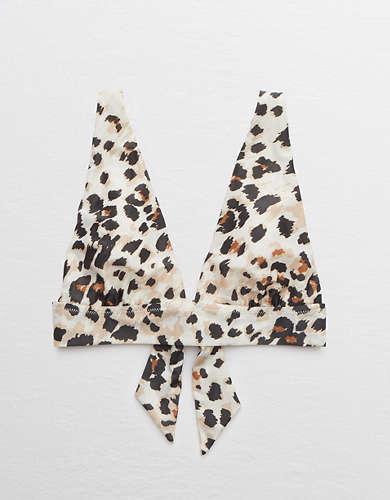 Aerie Leopard Tie Longline Triangle Bikini Top