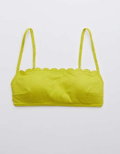 Aerie Waffle Scalloped Bandeau Bikini Top