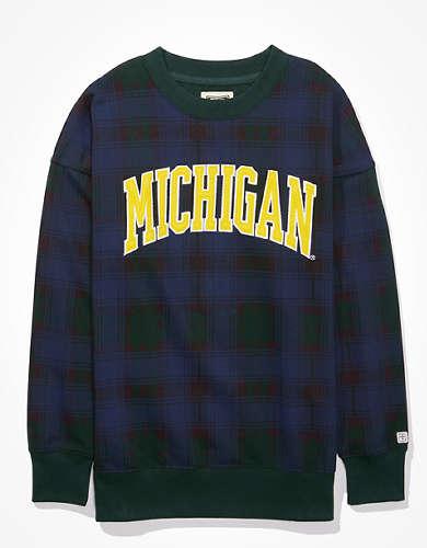 Tailgate Women's Michigan Wolverines Plaid Sweatshirt