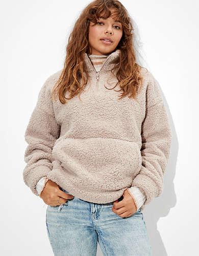AE Cozy Sherpa Quarter Zip Sweatshirt