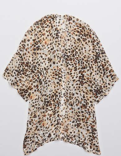 Aerie Chiffon Leopard Kimono