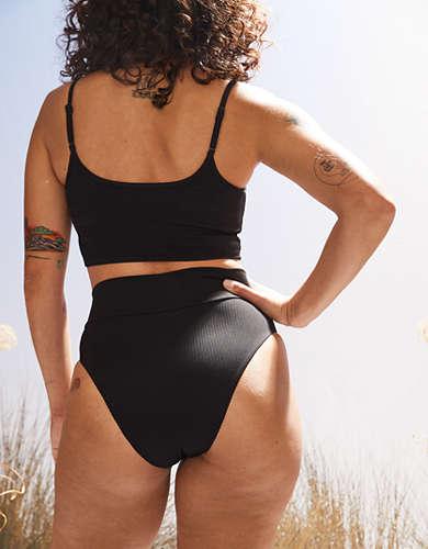Aerie Ribbed Crossover High Cut Cheeky Bikini Bottom