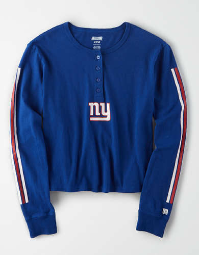 Tailgate Women's New York Giants Cropped Henley Tee