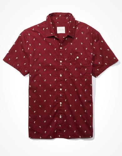 AE Tropical Print Short Sleeve Button-Up Shirt