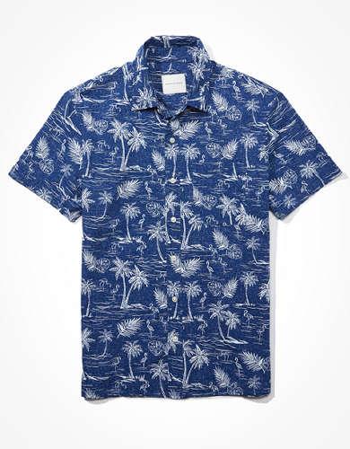 AE Short-Sleeve Tropical Print Button-Up Shirt