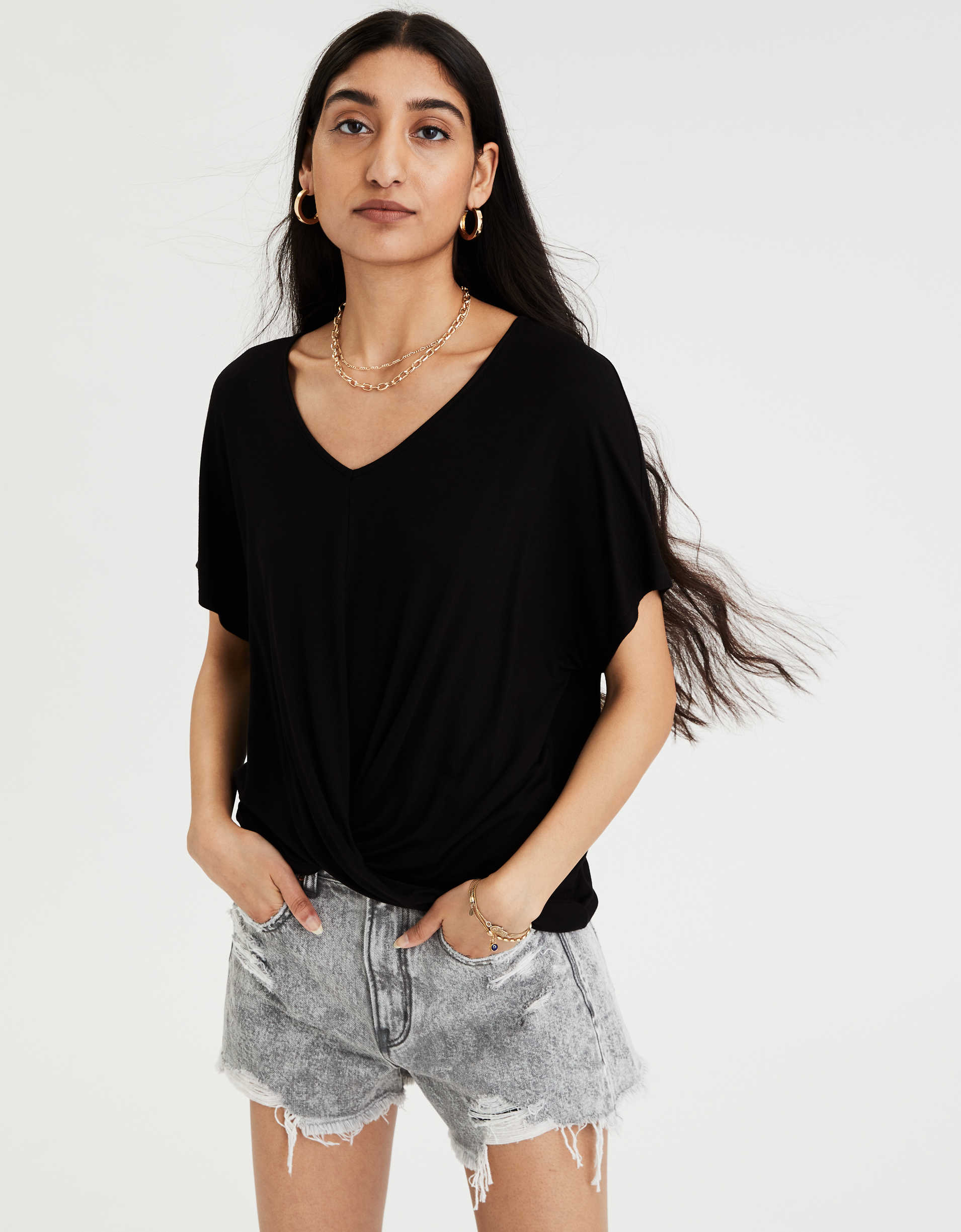 American Eagle AE Twist Front T-Shirt