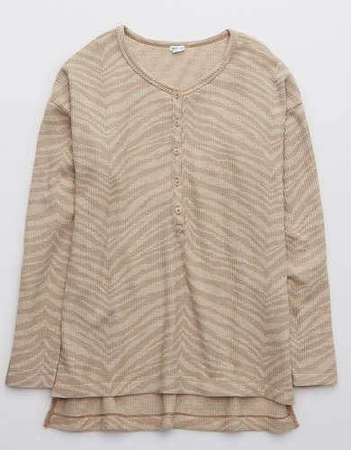 Aerie Waffle Long Sleeve Pajama Shirt
