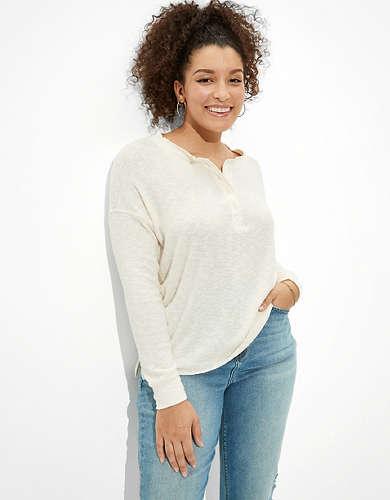 AE Soft & Sexy Plush Long Sleeve Henley T-Shirt