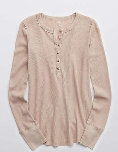 Aerie Waffle Henley Long Sleeve T-Shirt