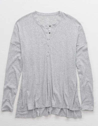 Aerie Ribbed Oversized Henley Long Sleeve T-Shirt
