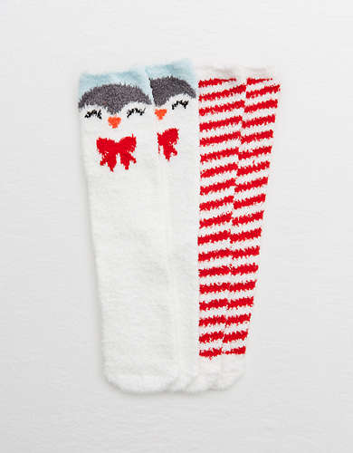 Aerie Fuzzy Holiday Crew Sock 2-Pack