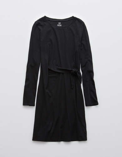 Aerie Side Tie Long Sleeve Dress