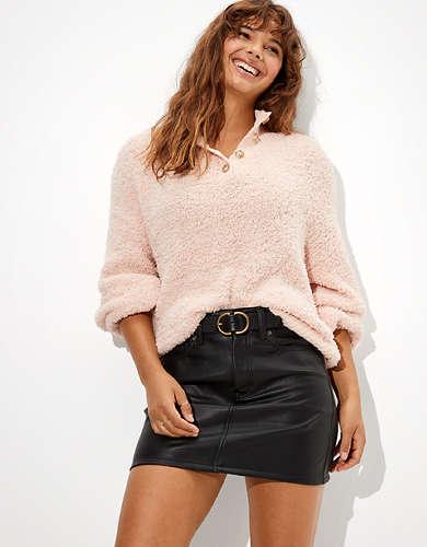 AE High-Waisted Leather Mini Skirt