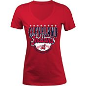 5th & Ocean Women's Cleveland Indians Red V-Neck T-Shirt