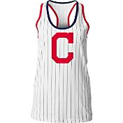 5th & Ocean Women's Cleveland Indians Pinstripe White Tank