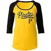 5th & Ocean Women's Pittsburgh Pirates Gold Three-Quarter Sleeve Shirt