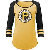 5th & Ocean Women's Pittsburgh Pirates Gold Tri-Blend Three-Quarter Sleeve Shirt
