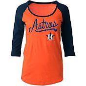 5th & Ocean Women's Houston Astros Orange Three-Quarter Sleeve Shirt