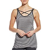 CALIA by Carrie Underwood Women's Strappy Front Neck Striped Tank Top