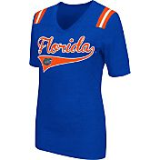 Colosseum Athletics Women's Florida Gators Blue Artistic V-Neck T-Shirt