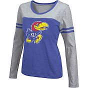 Colosseum Athletics Women's Kansas Jayhawks Blue Leap Scoop Neck Long Sleeve Shirt