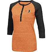 Colosseum Women's Miami Hurricanes Orange Three-Quarter Sleeve Henley Shirt